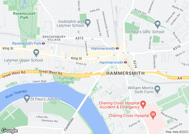 Map for Angel Walk, Hammersmith, W6