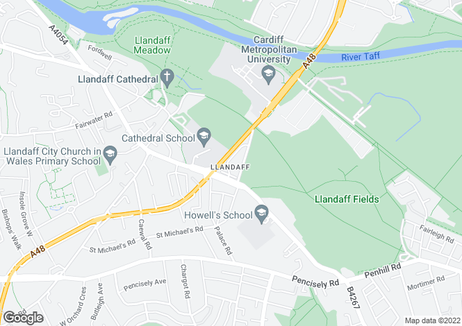 Map for Cardiff Road, Llandaff