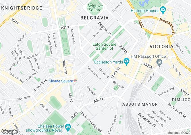 Map for South Eaton Place, Belgravia, SW1W