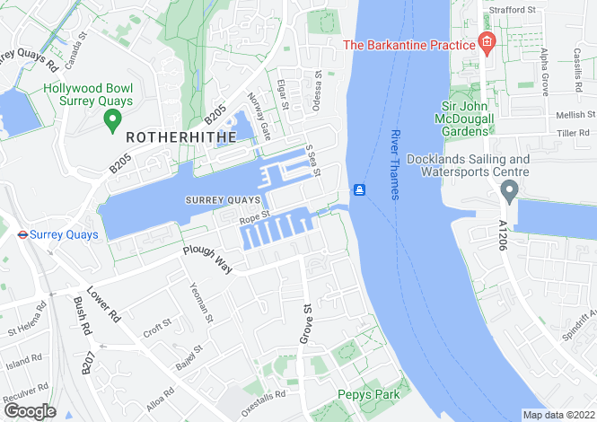 Map for South Dock Marina, Rotherhithe