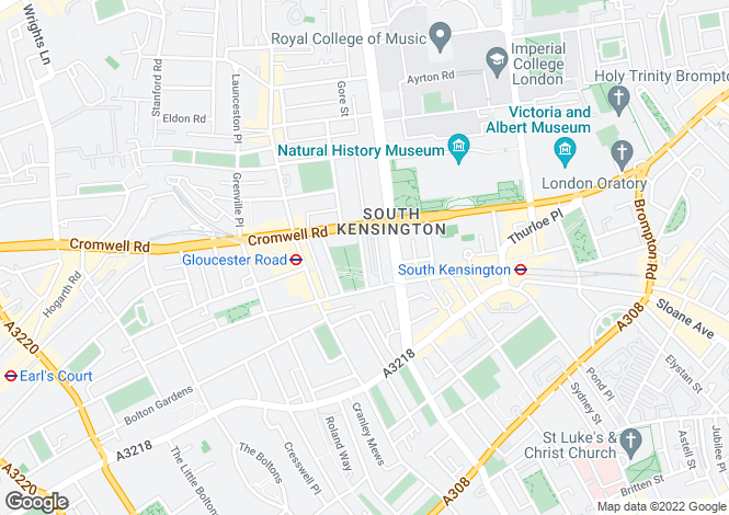Map for Stanhope Gardens, South Kensington, London, SW7