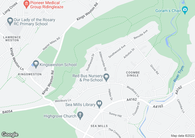 Map for Dentwood Grove, Coombe Dingle, BRISTOL