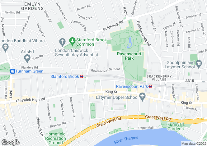Map for Ravenscourt  Gardens Hammersmith W6