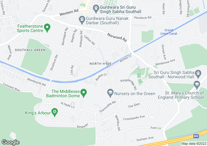 Map for Burket Close, Norwood Green