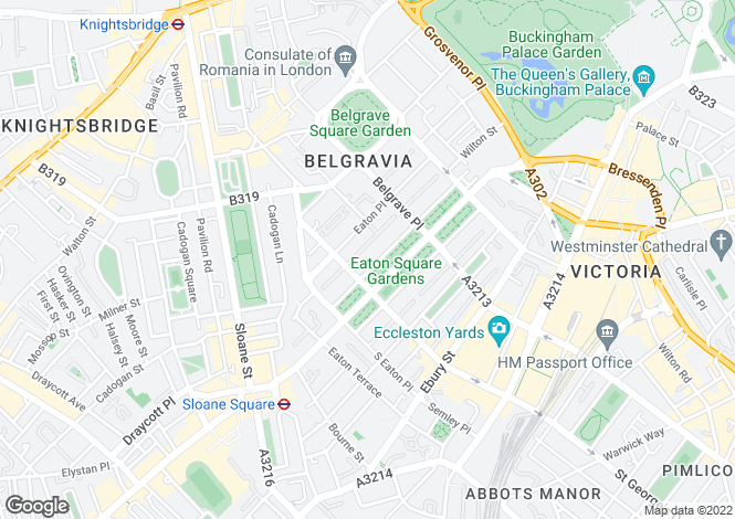 Map for Eaton Square, Belgravia, London SW1W 9AG