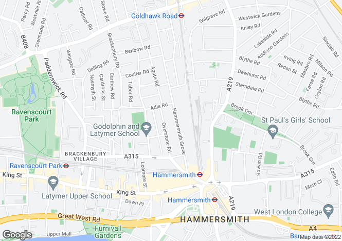 Map for Hammersmith Grove, Brackenbury Village, London, W6