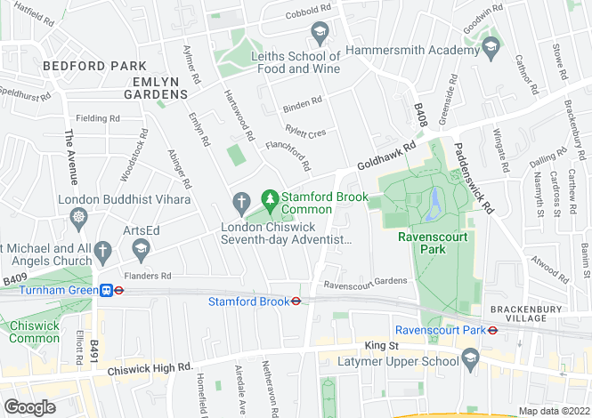 Map for Stamford Brook Avenue, London