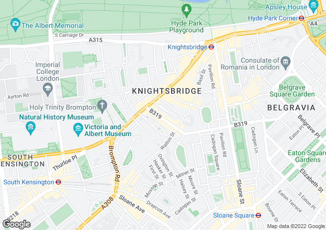 Map for Beaufort Gardens, Knightsbridge