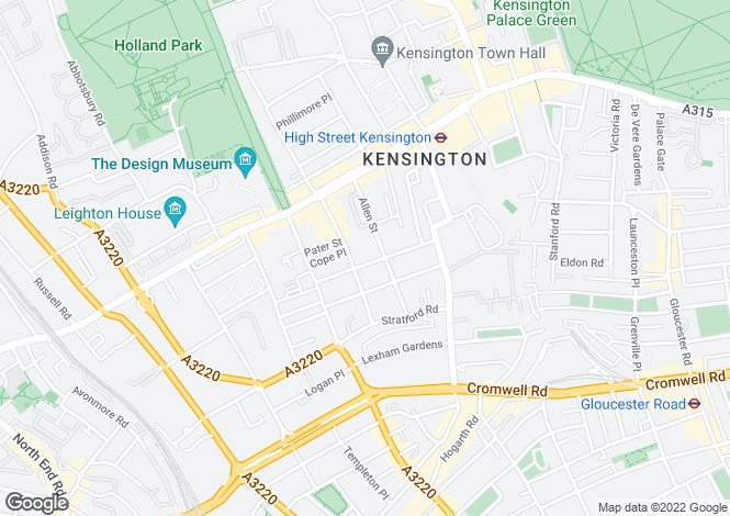 Map for ABINGDON VILLAS, KENSINGTON, W8