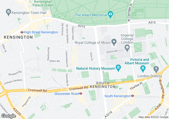 Map for Elvaston Place, South Kensington, London