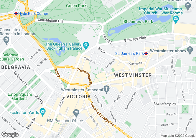 Map for Palace Street, London, Westminster SW1E 5BB