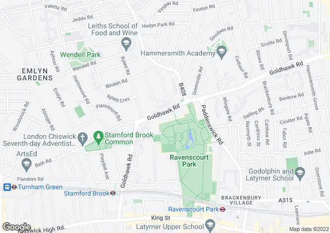 Map for Goldhawk Road, London, W12