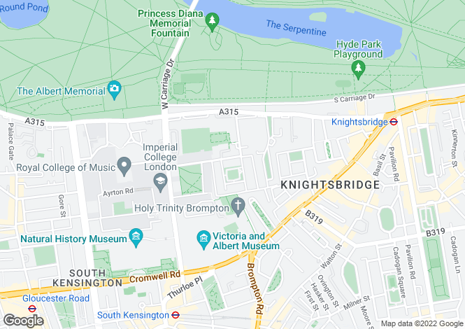 Map for Ennismore Gardens, Knightsbridge, London, SW7