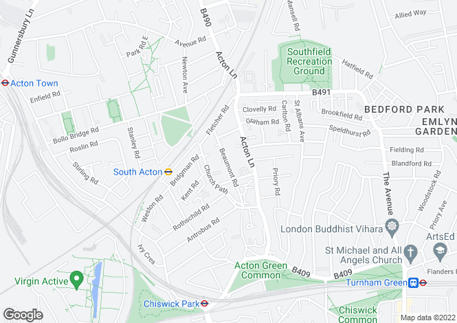 Map for Beaumont Road, London, W4