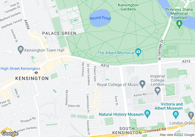 Map for Palace Gate, Kensington, London, W8