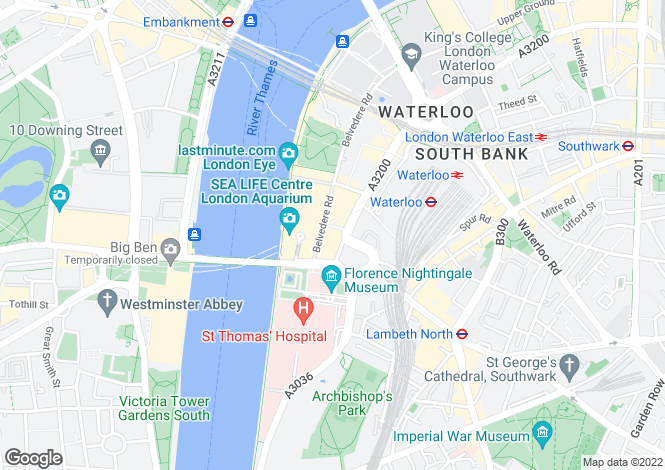 Map for 1a Belvedere Road, County Hall Apartments, Waterloo, London
