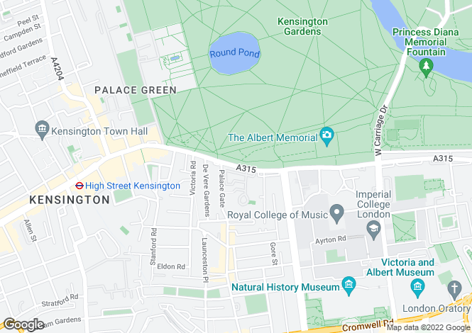 Map for Kensington Road, London, SW7