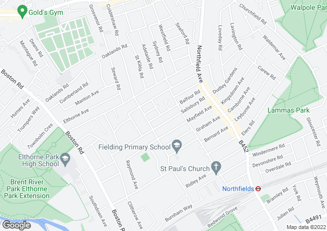 Map for Balfour Road, Ealing, London