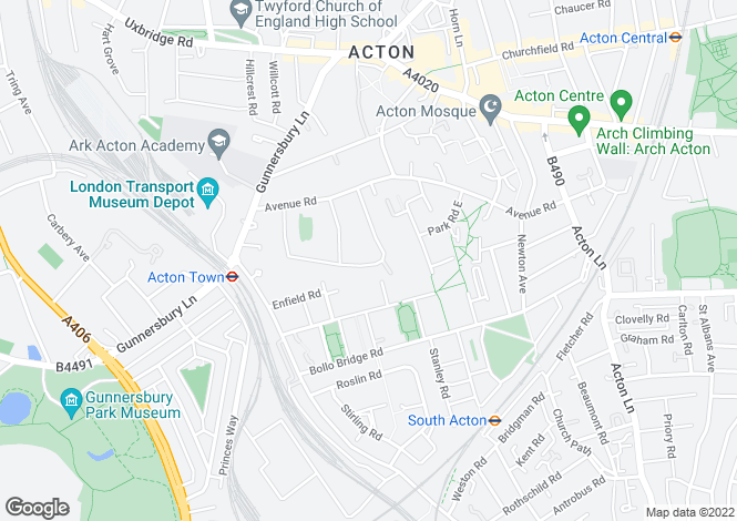 Map for Avenue Gardens, Acton