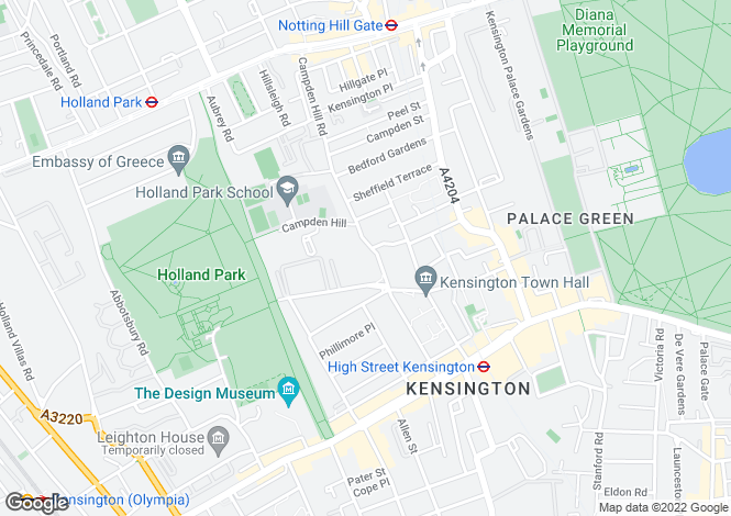Map for Duchess of Bedford Walk, Kensington, London, W8