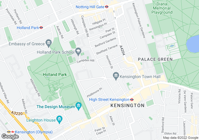 Map for Duchess of Bedford Walk, Kensington, W8