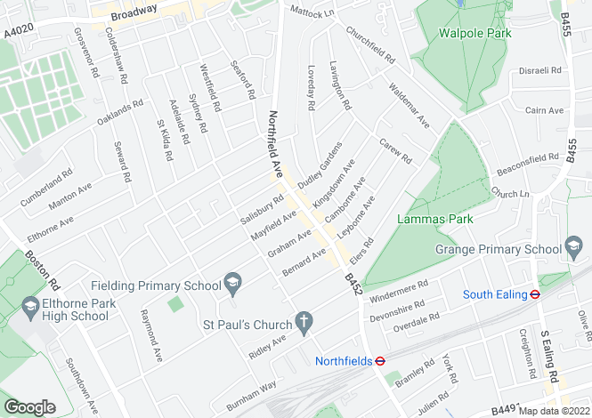 Map for Northfield Avenue, Northfields, W13