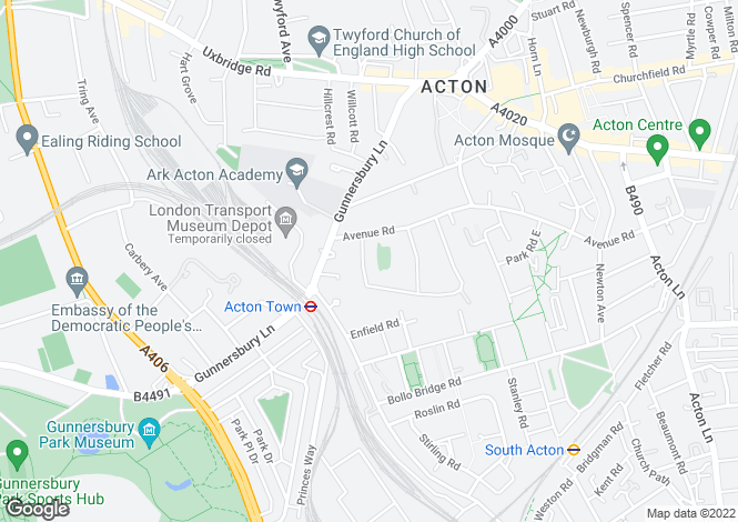 Map for Heathfield Road, South Acton, W3