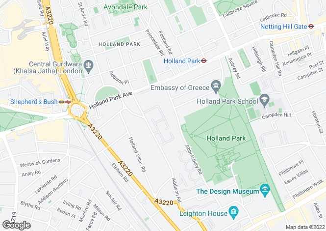 Map for Woodsford Square, Holland Park, W14