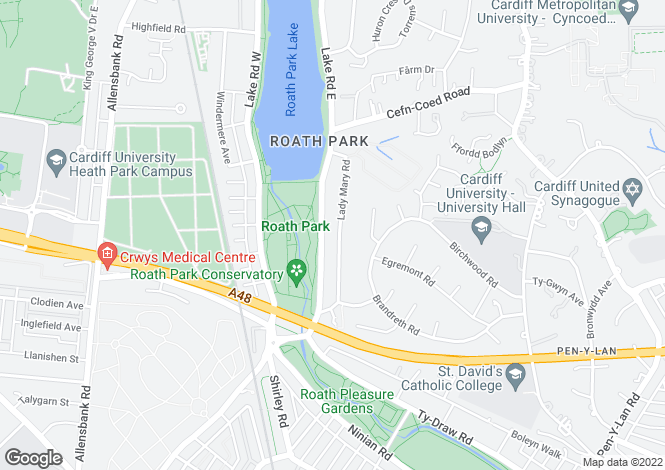 Map for Lake Road East, Cardiff