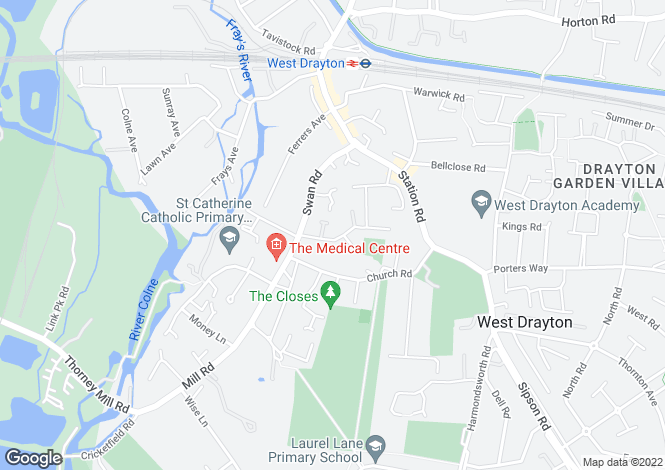 Map for Drayton Gardens, West Drayton