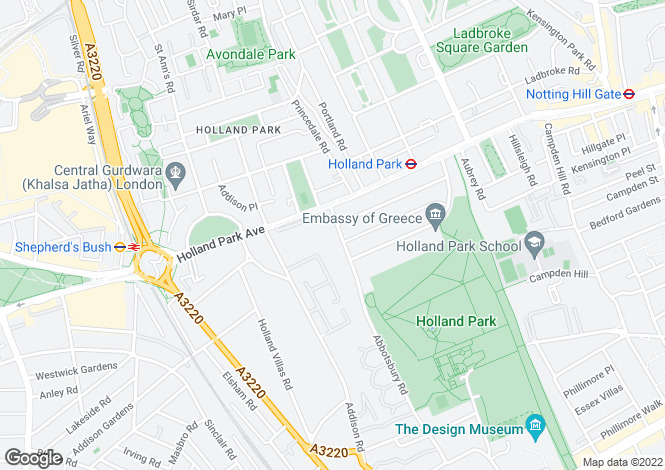 Map for Holland Park, London, W11