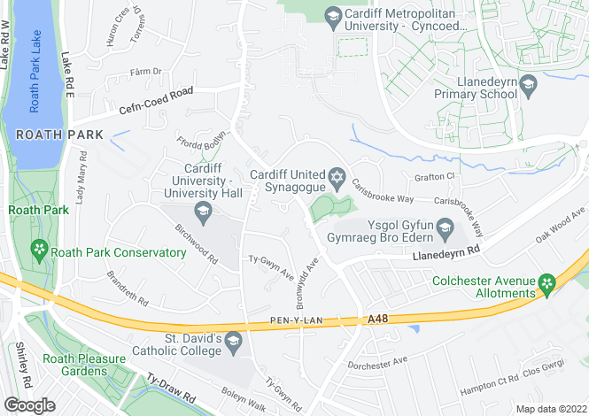 Map for Cyncoed Road, Cyncoed, Cardiff
