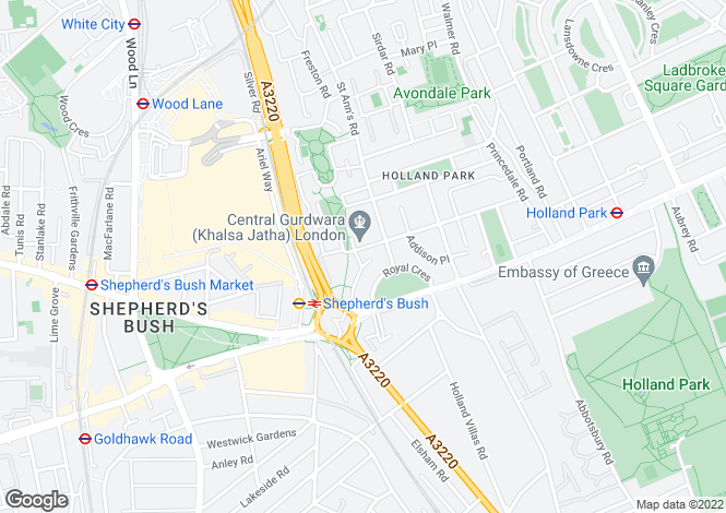 Map for Queensdale Road, Holland Park