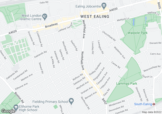 Map for Northfield Avenue, Ealing, London, W13