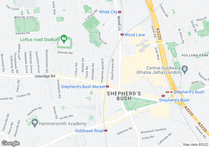 Map for Frithville Gardens, Shepherds Bush, W12