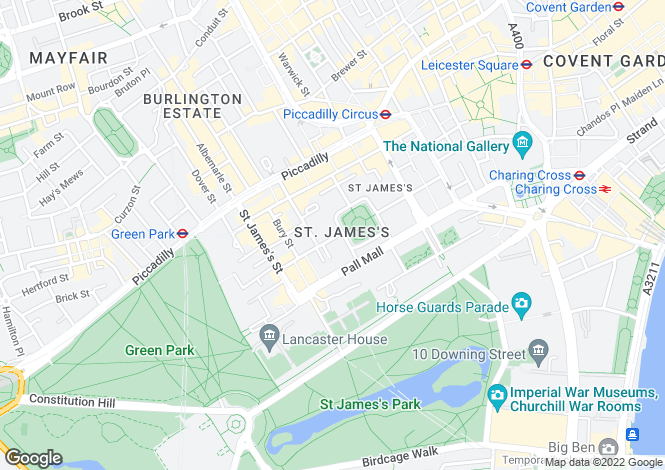 Map for King Street, St James's, London