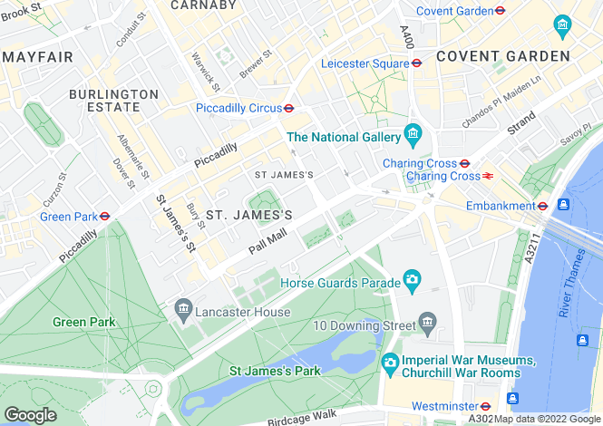 Map for Pall Mall, St James's, SW1Y