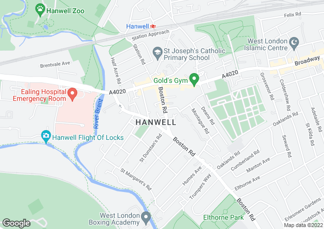 Map for Boston Road, Hanwell, W7