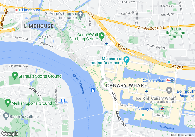 Map for Eaton House, Canary Riverside, London E14 8RN