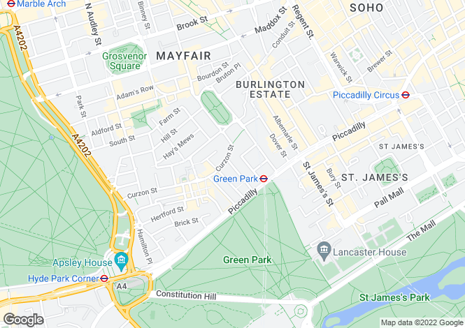 Map for Bolton Street, Mayfair, Mayfair, W1J