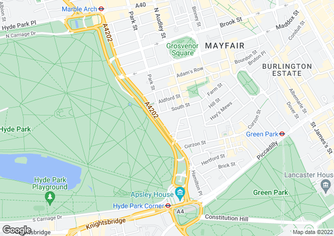 Map for Park Lane, Mayfair, W1K