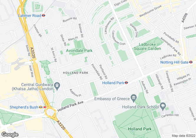 Map for Pottery Lane, Holland Park