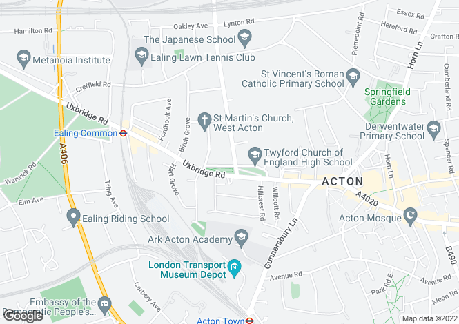 Map for Twyford Crescent, Acton, London