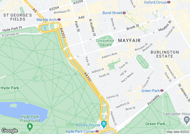 Map for Mount Street, London, W1K