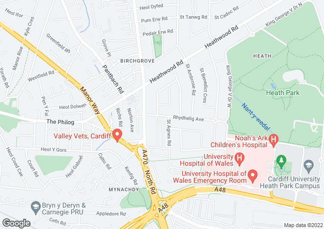Map for Rhydhelig Avenue, Heath, CARDIFF, Cardiff