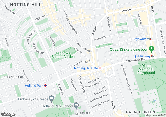 Map for Kensington Park Road, Notting Hill, London W11