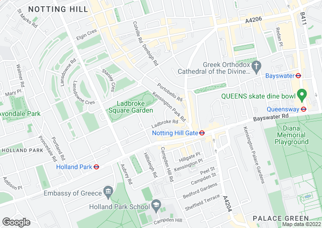 Map for Horbury Crescent, Notting Hill