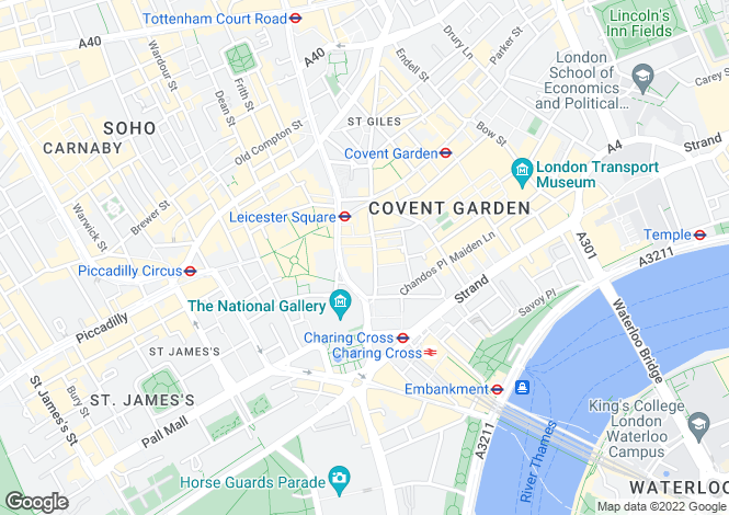 Map for St Martin's Lane, Covent Garden, WC2