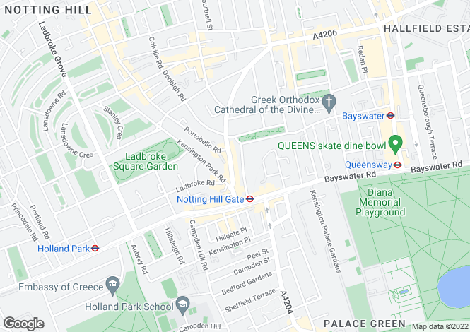 Map for Pembridge Gardens, Notting Hill