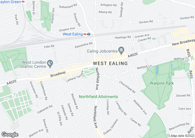 Map for Northfield Avenue, Ealing